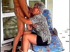 Adele loves staying outdoors and seeing hot young men in just their boxer shorts. This busty granny tries to seduce them all but only young Robert her