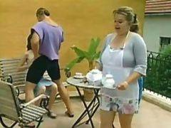 Chubby waitress gets screwed at outdoor