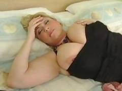 Two plump busty sluts active playing with long toy